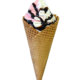 Strawberry-and-Vanilla-Frozen-Yogurt-in-a-Cone-Drizzled-with-Chocolate-Sauce