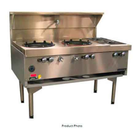 Goldstein CWA2B2 Air Cooled Gas Wok Double with Side Burners