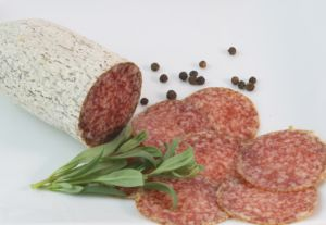 Salami ready to be packed with Brice FastPack MKII Wrapper